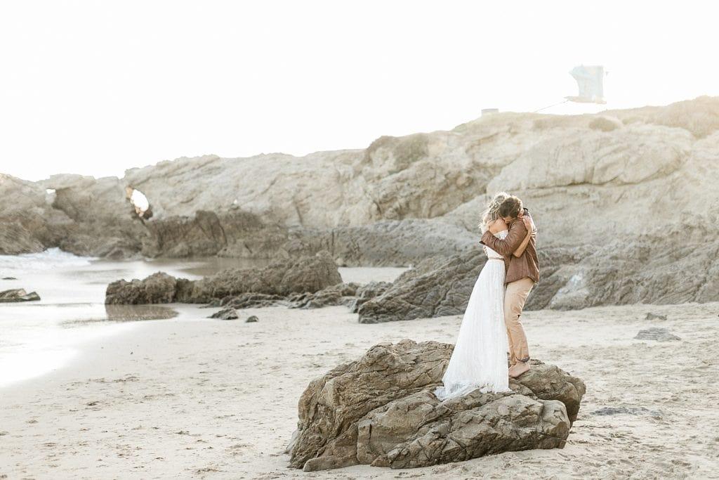 Big hugs on elopement day in Malibu, CA