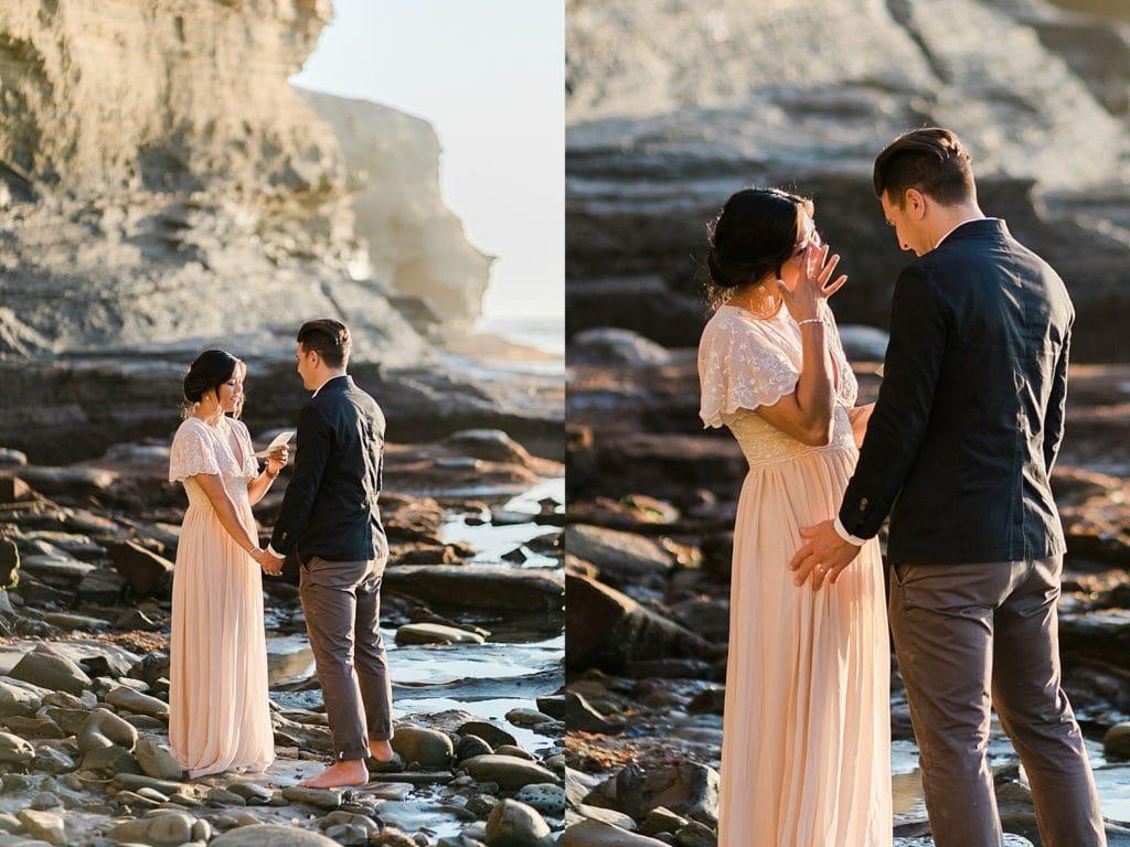 Elopement Ceremony vows at Sunset Cliffs, San Diego, CA